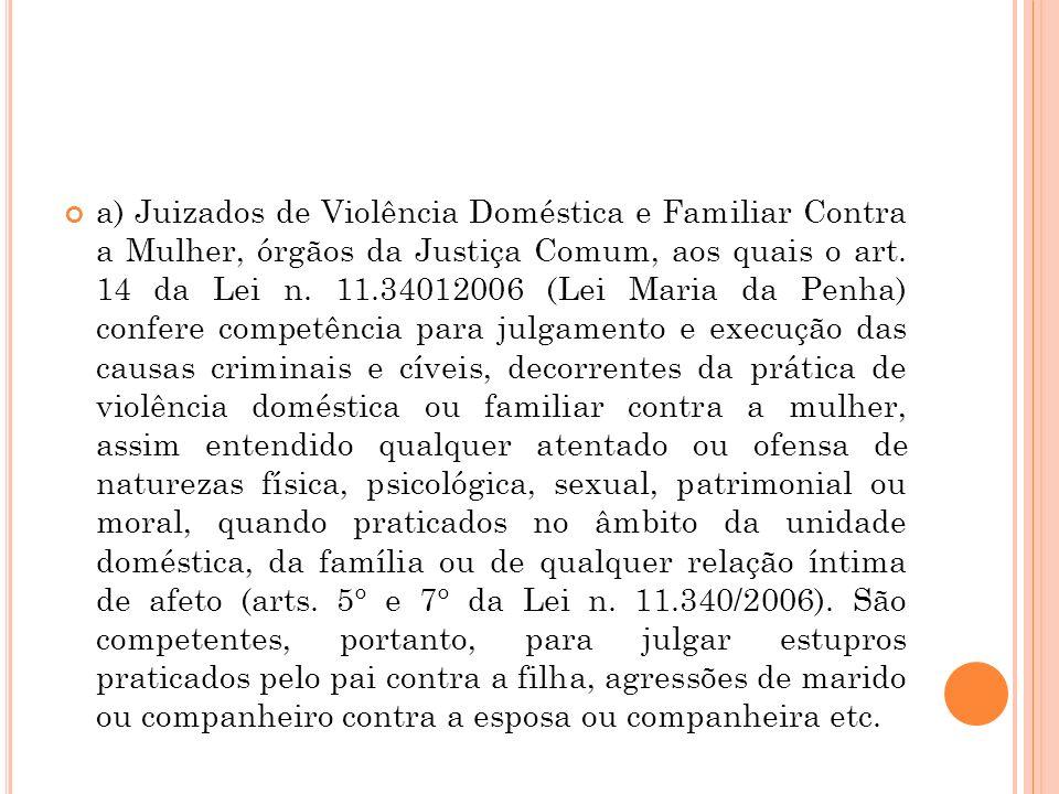 a) Juizados de Violência Doméstica e Familiar Contra a Mulher, órgãos da Justiça Comum, aos quais o art.