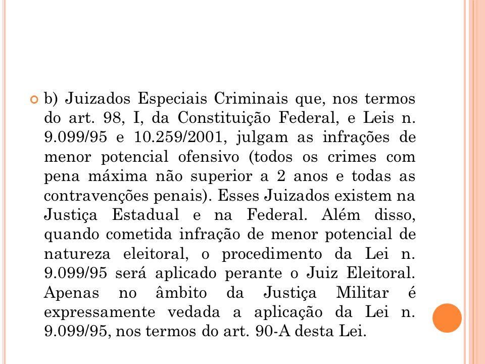 b) Juizados Especiais Criminais que, nos termos do art