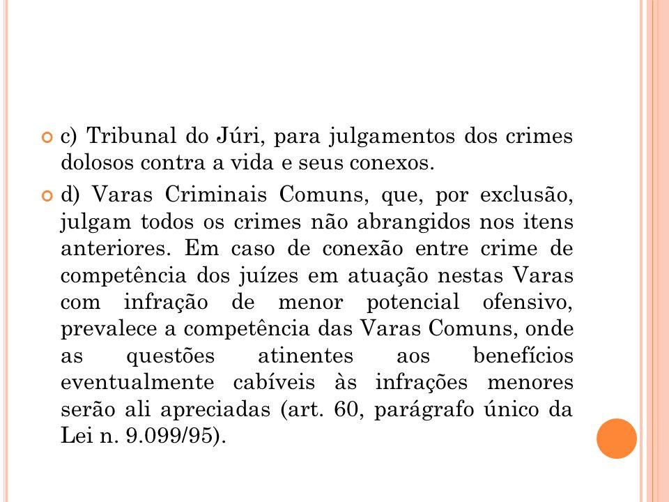 c) Tribunal do Júri, para julgamentos dos crimes dolosos contra a vida e seus conexos.