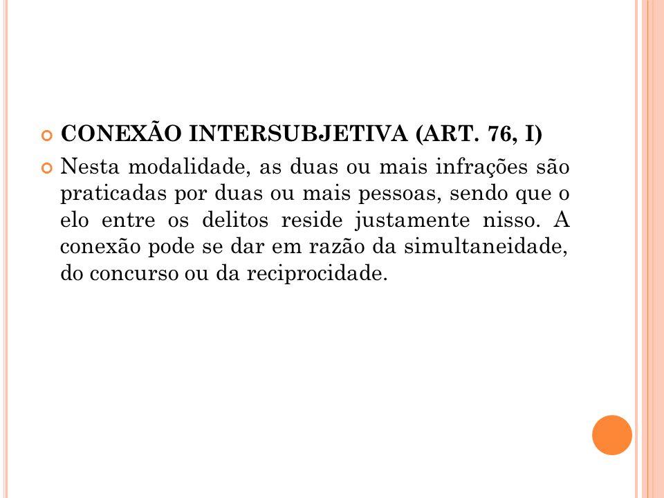 CONEXÃO INTERSUBJETIVA (ART. 76, I)