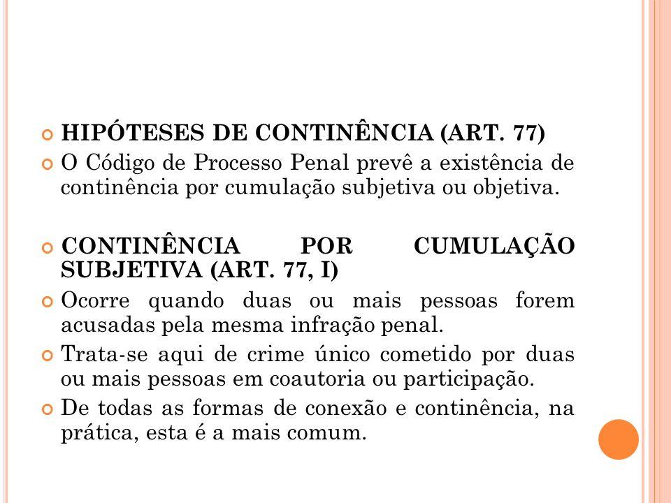 HIPÓTESES DE CONTINÊNCIA (ART. 77)