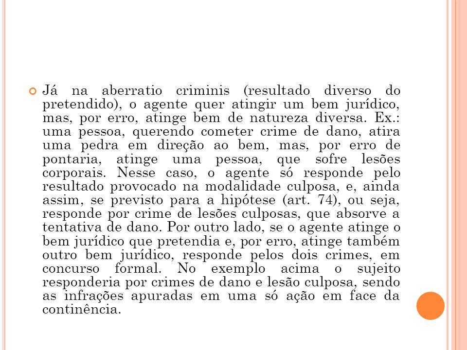 Já na aberratio criminis (resultado diverso do pretendido), o agente quer atingir um bem jurídico, mas, por erro, atinge bem de natureza diversa.