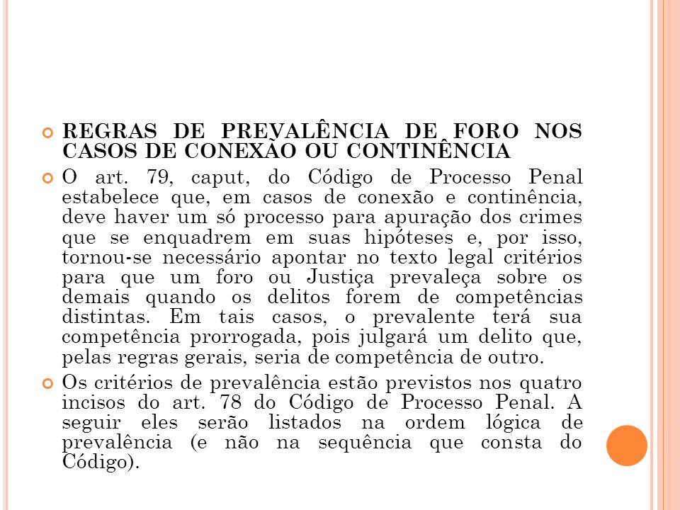 REGRAS DE PREVALÊNCIA DE FORO NOS CASOS DE CONEXÃO OU CONTINÊNCIA