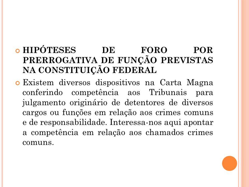 HIPÓTESES DE FORO POR PRERROGATIVA DE FUNÇÃO PREVISTAS NA CONSTITUIÇÃO FEDERAL