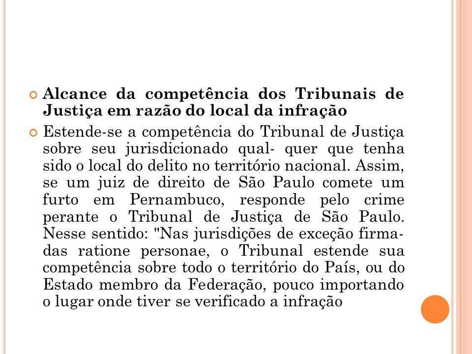 Alcance da competência dos Tribunais de Justiça em razão do local da infração