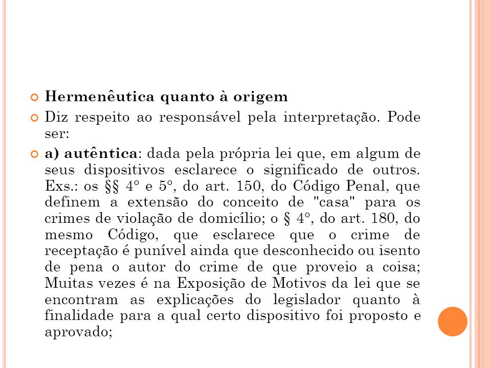 Hermenêutica quanto à origem