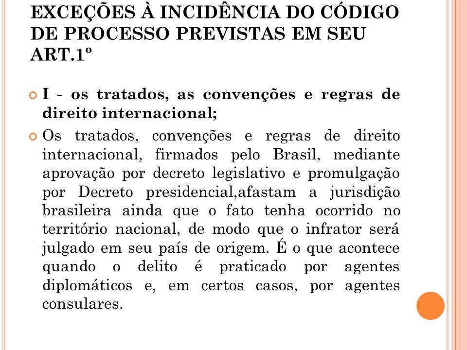EXCEÇÕES À INCIDÊNCIA DO CÓDIGO DE PROCESSO PREVISTAS EM SEU ART.1º