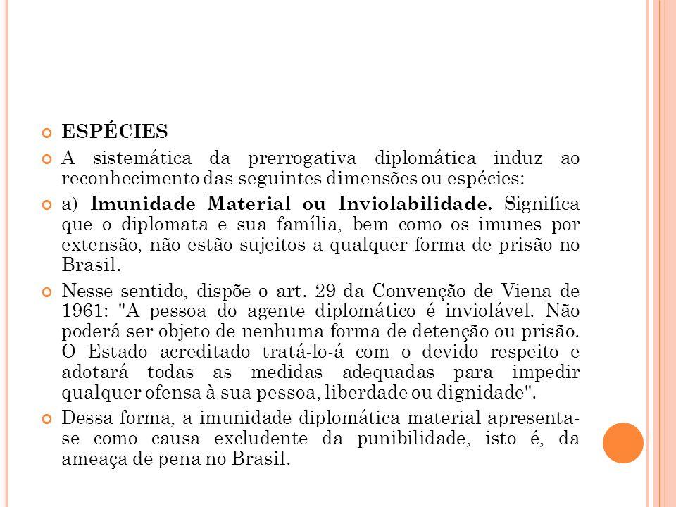 ESPÉCIES A sistemática da prerrogativa diplomática induz ao reconhecimento das seguintes dimensões ou espécies: