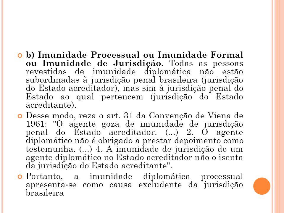 b) Imunidade Processual ou Imunidade Formal ou Imunidade de Jurisdição