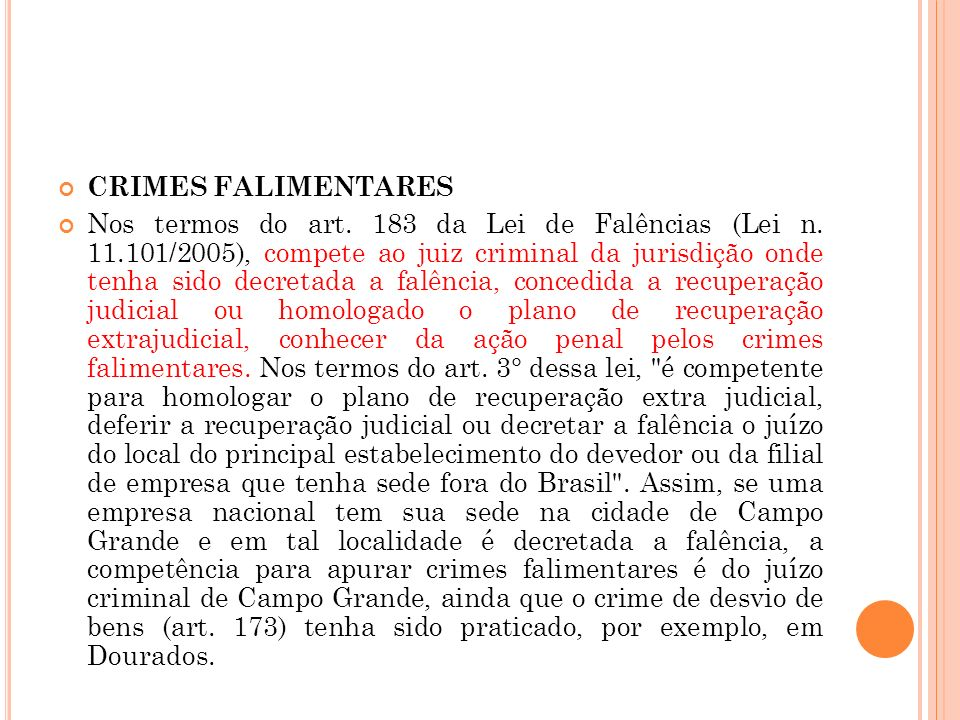 CRIMES FALIMENTARES