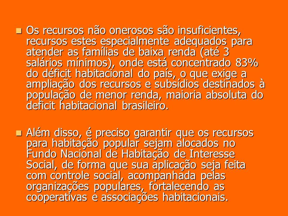 Os recursos não onerosos são insuficientes, recursos estes especialmente adequados para atender as famílias de baixa renda (até 3 salários mínimos), onde está concentrado 83% do déficit habitacional do país, o que exige a ampliação dos recursos e subsídios destinados à população de menor renda, maioria absoluta do deficit habitacional brasileiro.