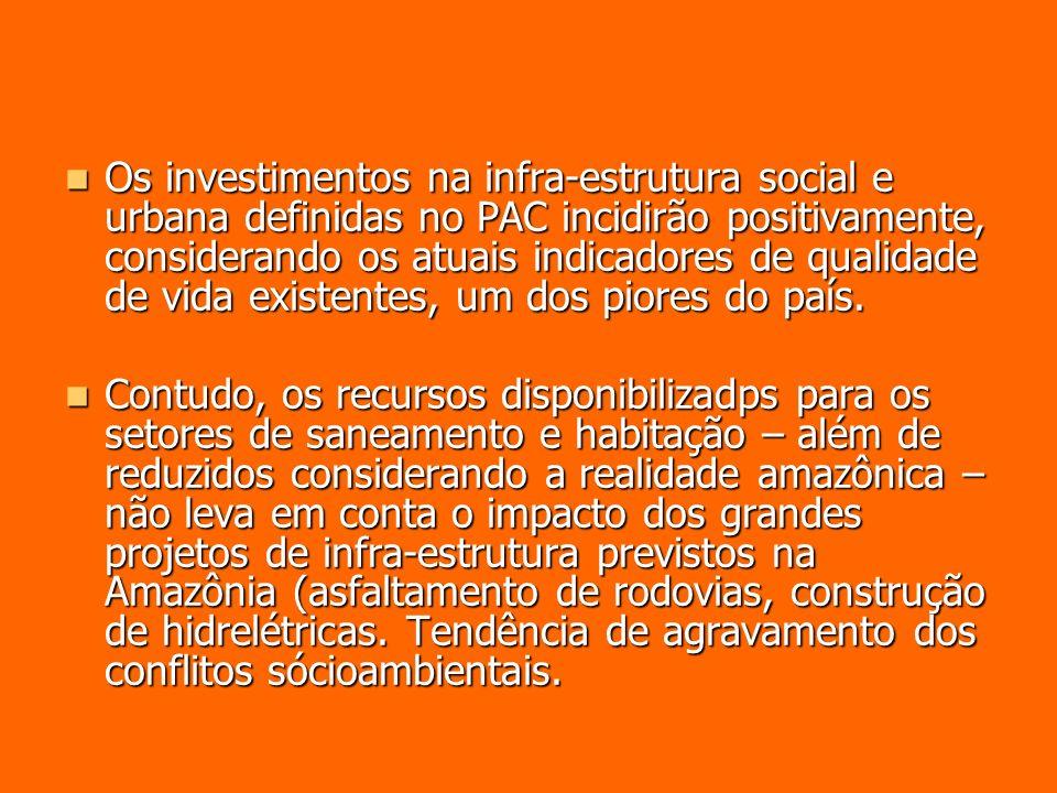 Os investimentos na infra-estrutura social e urbana definidas no PAC incidirão positivamente, considerando os atuais indicadores de qualidade de vida existentes, um dos piores do país.