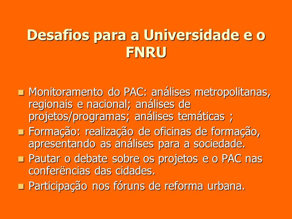 Desafios para a Universidade e o FNRU