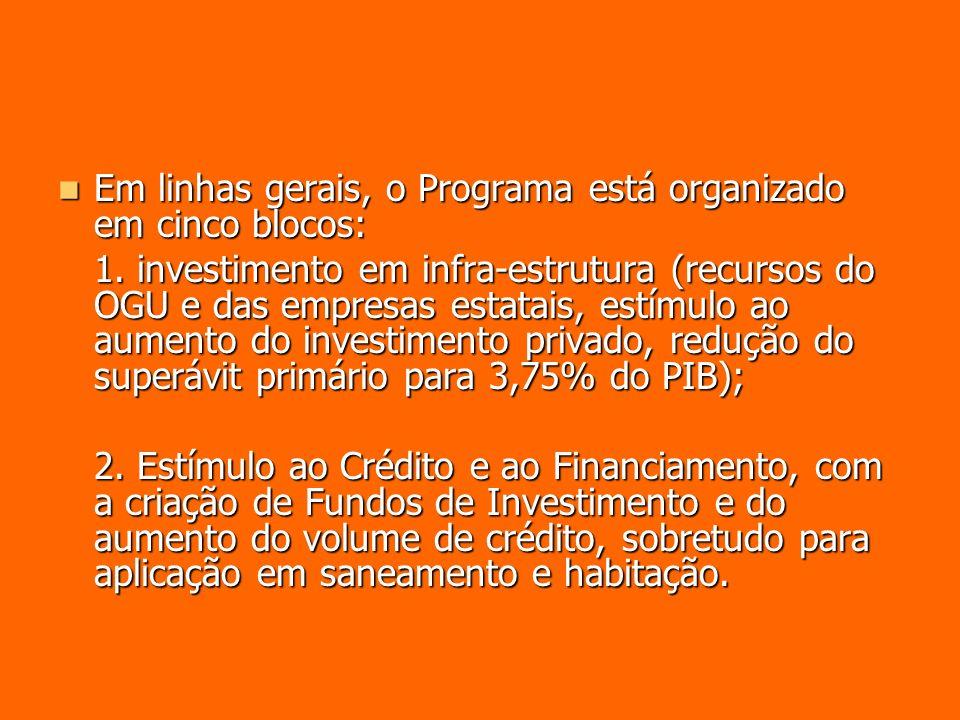Em linhas gerais, o Programa está organizado em cinco blocos: