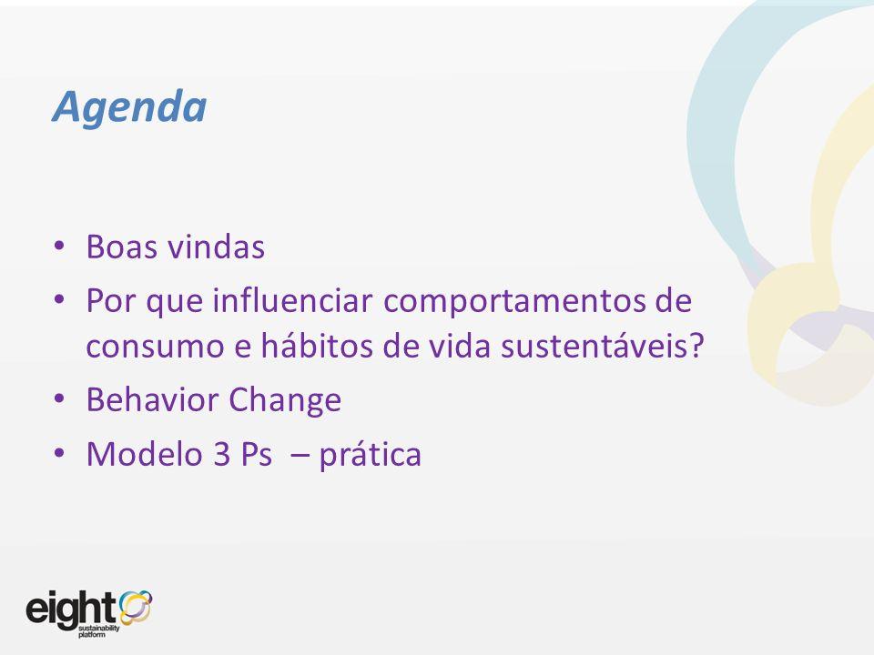 Agenda Boas vindas. Por que influenciar comportamentos de consumo e hábitos de vida sustentáveis Behavior Change.