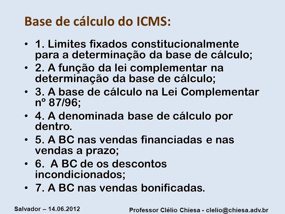 Base de cálculo do ICMS: