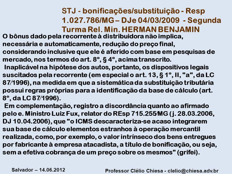 STJ - bonificações/substituição - Resp 1. 027