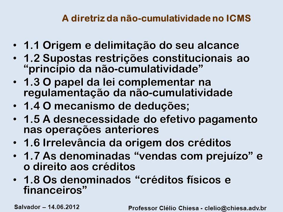A diretriz da não-cumulatividade no ICMS