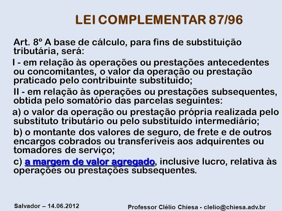 LEI COMPLEMENTAR 87/96