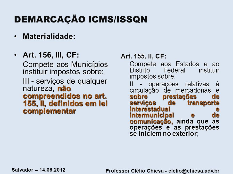 DEMARCAÇÃO ICMS/ISSQN