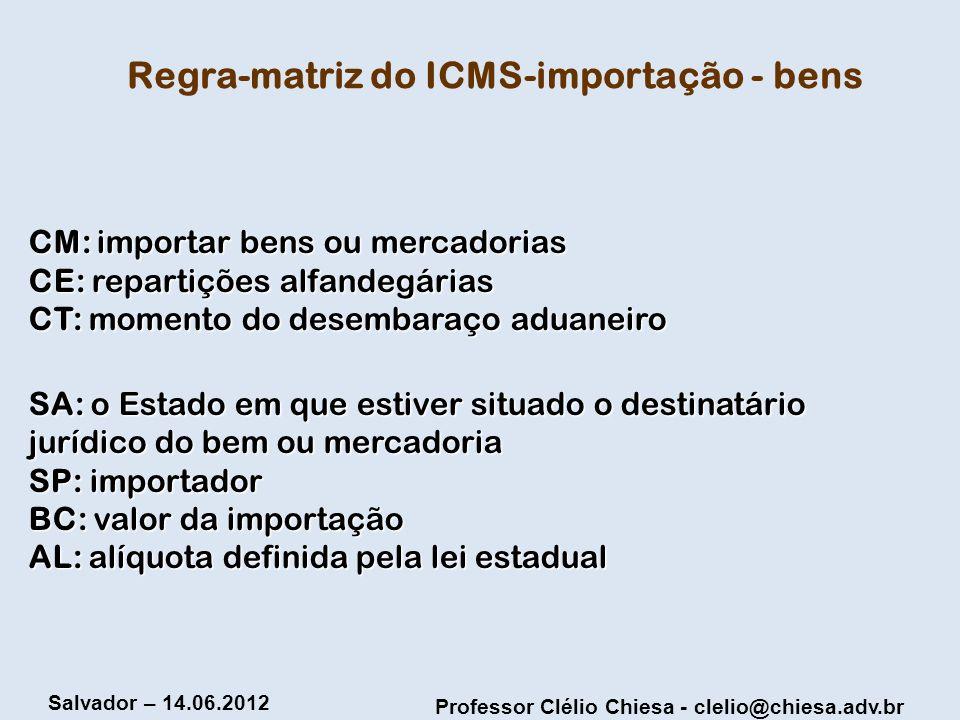 Regra-matriz do ICMS-importação - bens