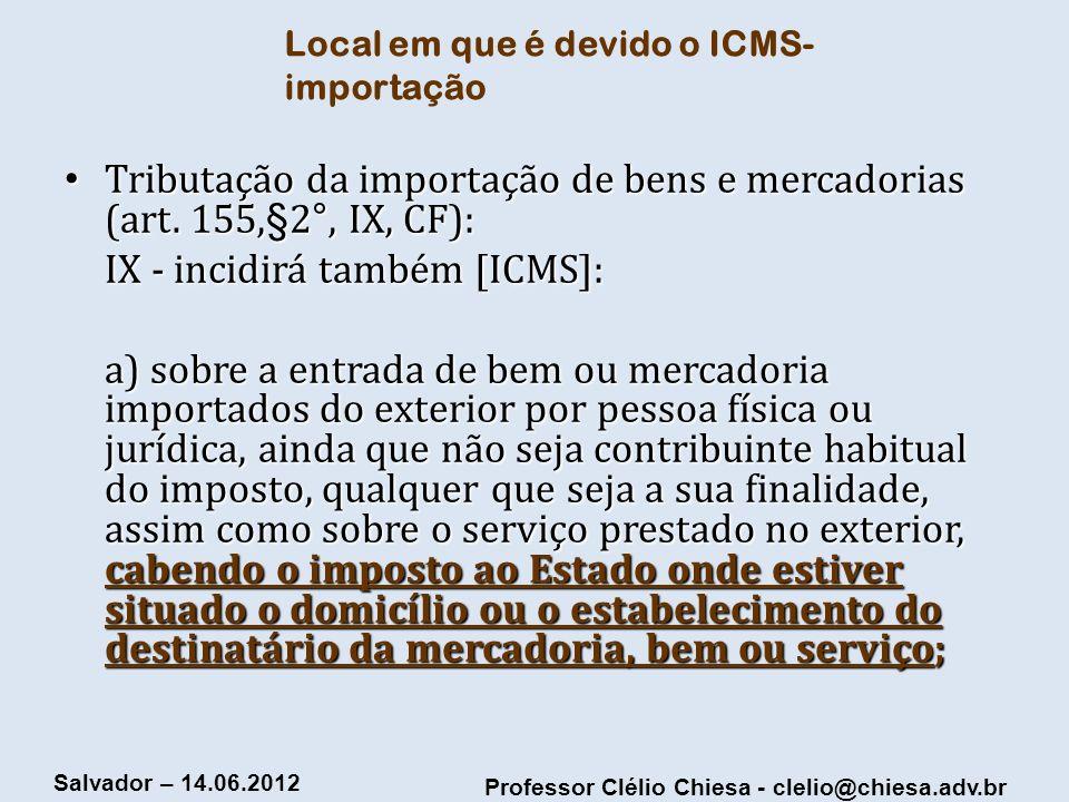 Local em que é devido o ICMS-importação