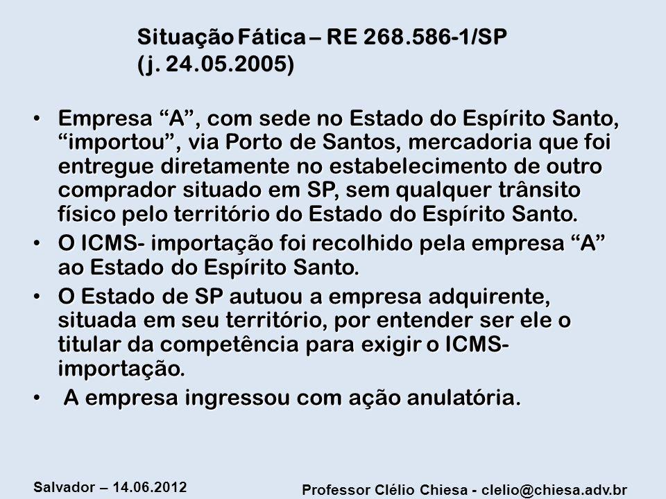 Situação Fática – RE 268.586-1/SP (j. 24.05.2005)