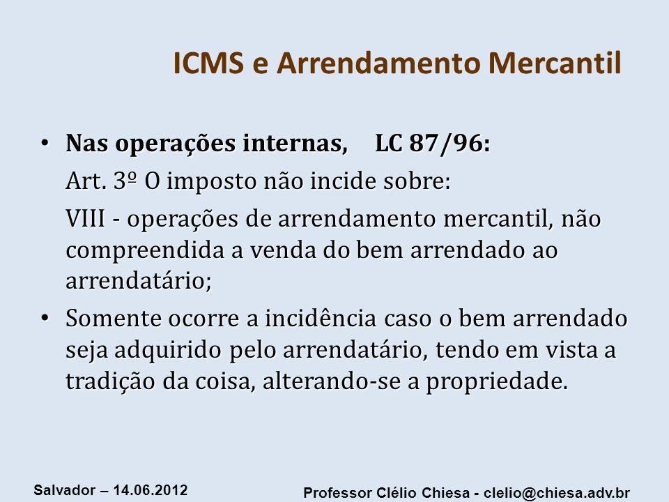 ICMS e Arrendamento Mercantil