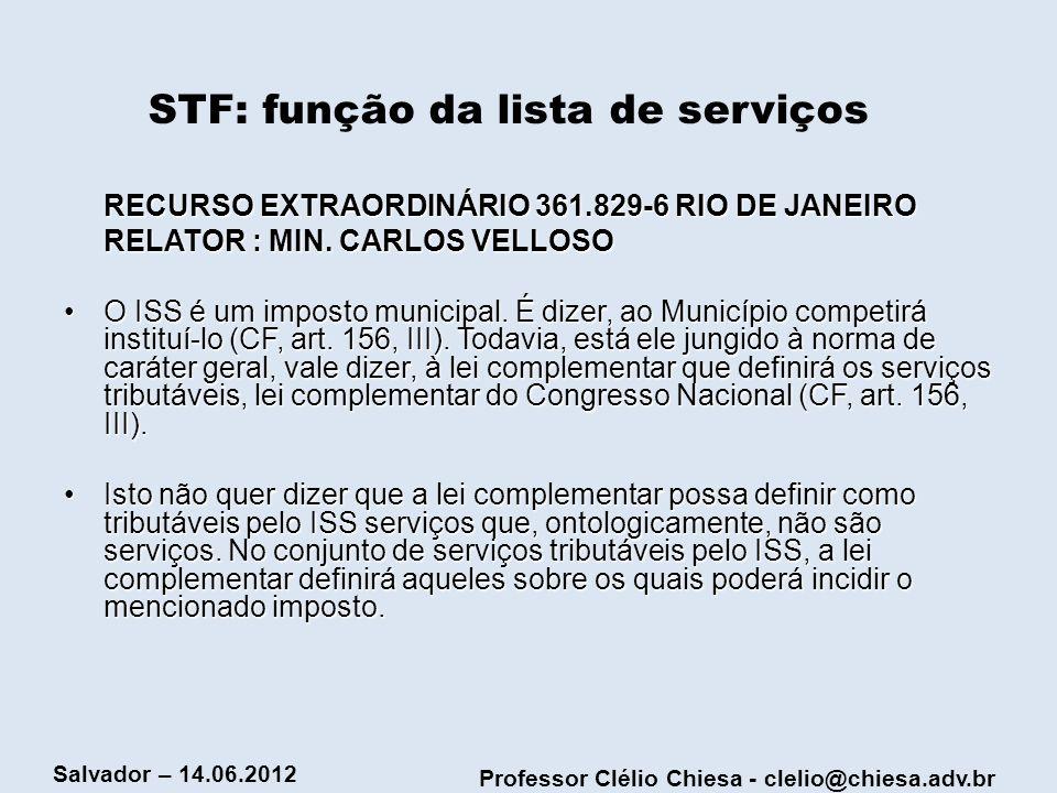STF: função da lista de serviços