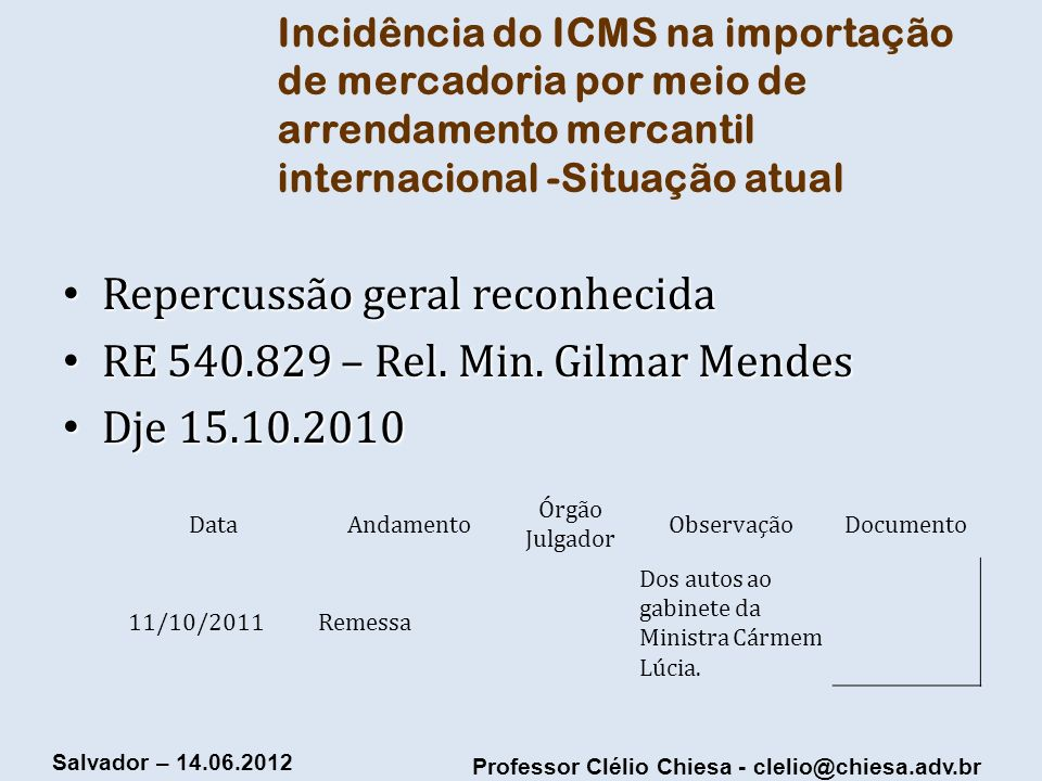 Repercussão geral reconhecida RE 540.829 – Rel. Min. Gilmar Mendes