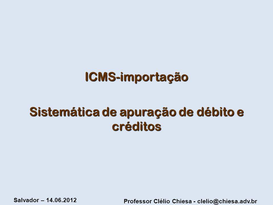 Sistemática de apuração de débito e créditos