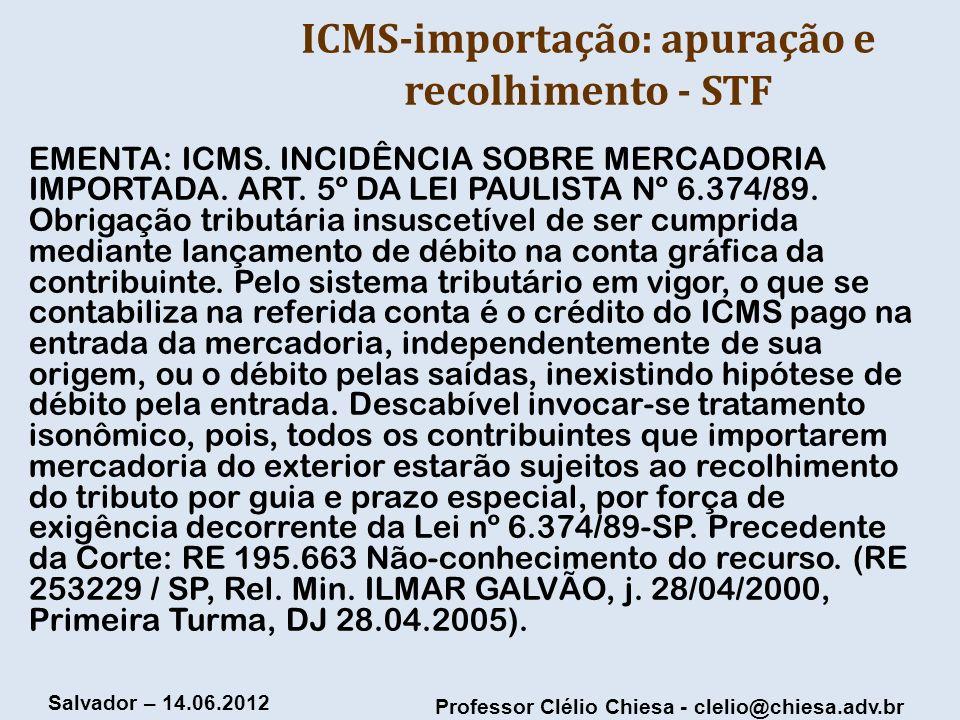 ICMS-importação: apuração e recolhimento - STF