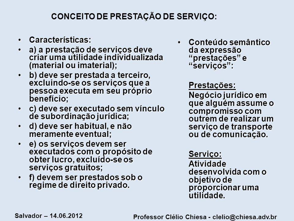 CONCEITO DE PRESTAÇÃO DE SERVIÇO: