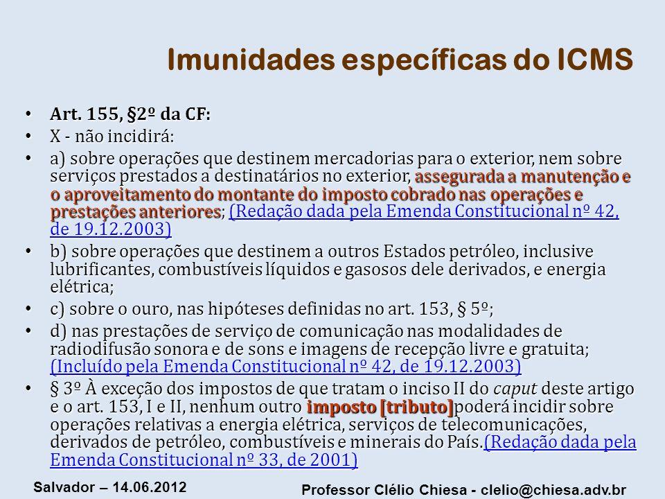 Imunidades específicas do ICMS