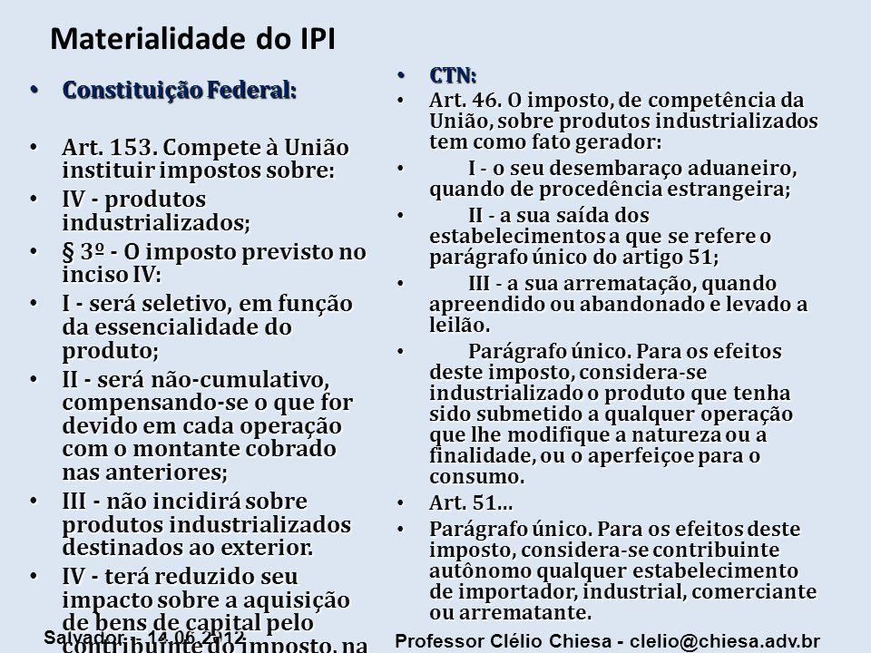 Materialidade do IPI Constituição Federal: