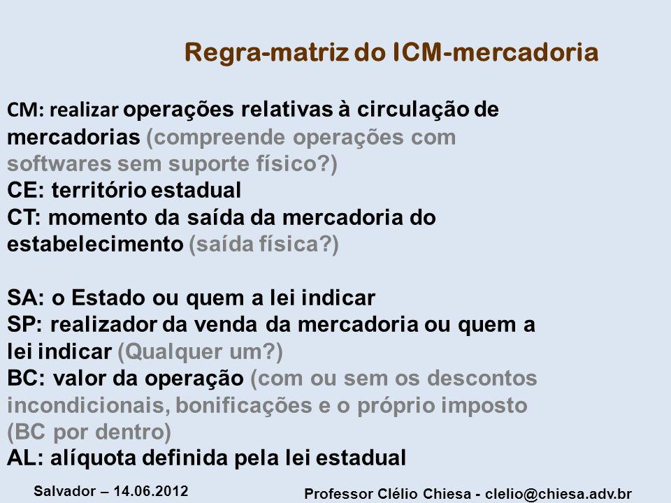 Regra-matriz do ICM-mercadoria