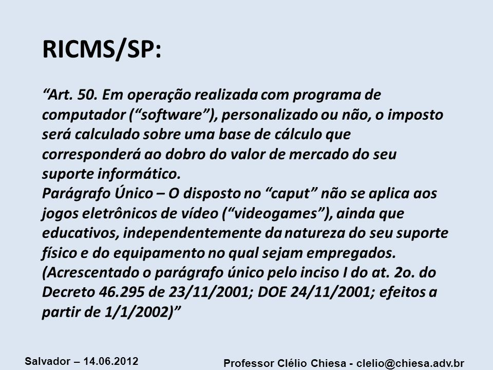RICMS/SP: Art.50.