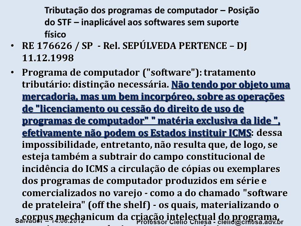 Tributação dos programas de computador – Posição do STF – inaplicável aos softwares sem suporte físico