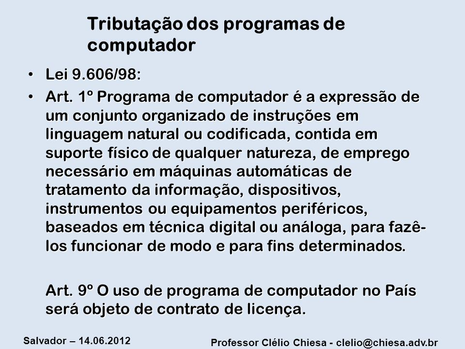 Tributação dos programas de computador
