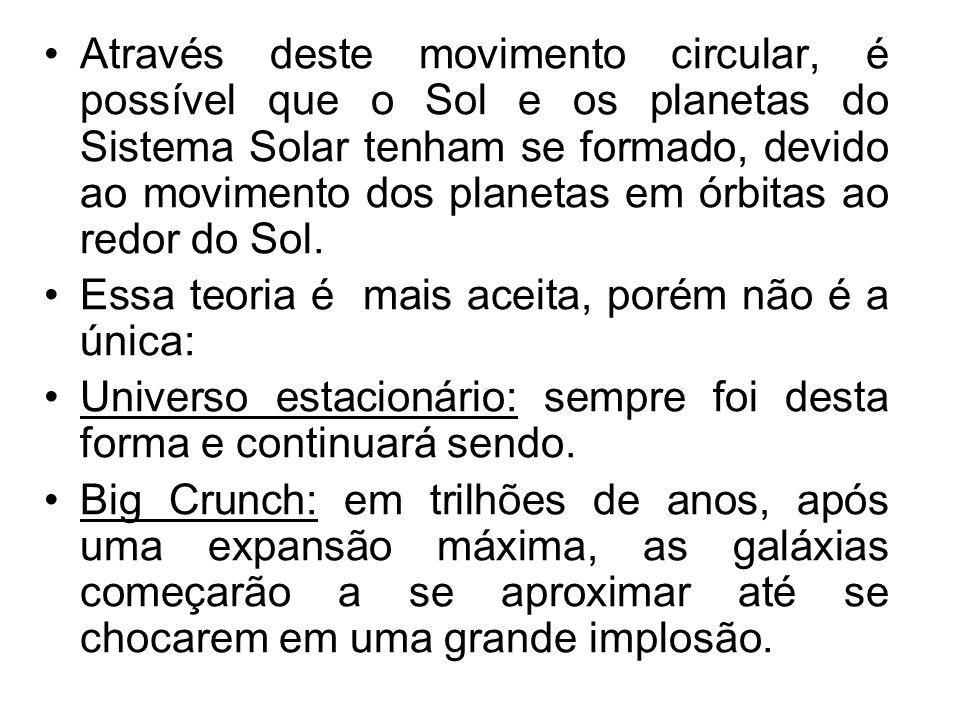 Através deste movimento circular, é possível que o Sol e os planetas do Sistema Solar tenham se formado, devido ao movimento dos planetas em órbitas ao redor do Sol.