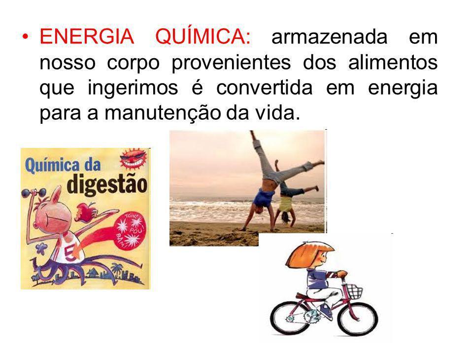 ENERGIA QUÍMICA: armazenada em nosso corpo provenientes dos alimentos que ingerimos é convertida em energia para a manutenção da vida.