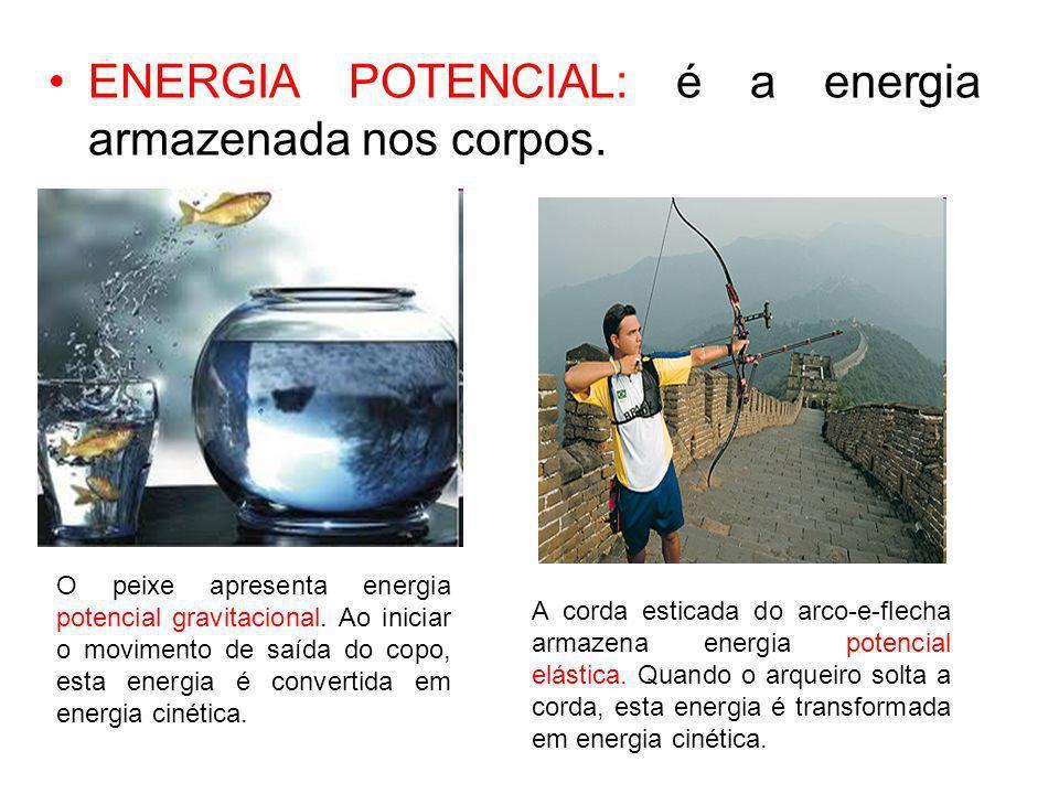 ENERGIA POTENCIAL: é a energia armazenada nos corpos.
