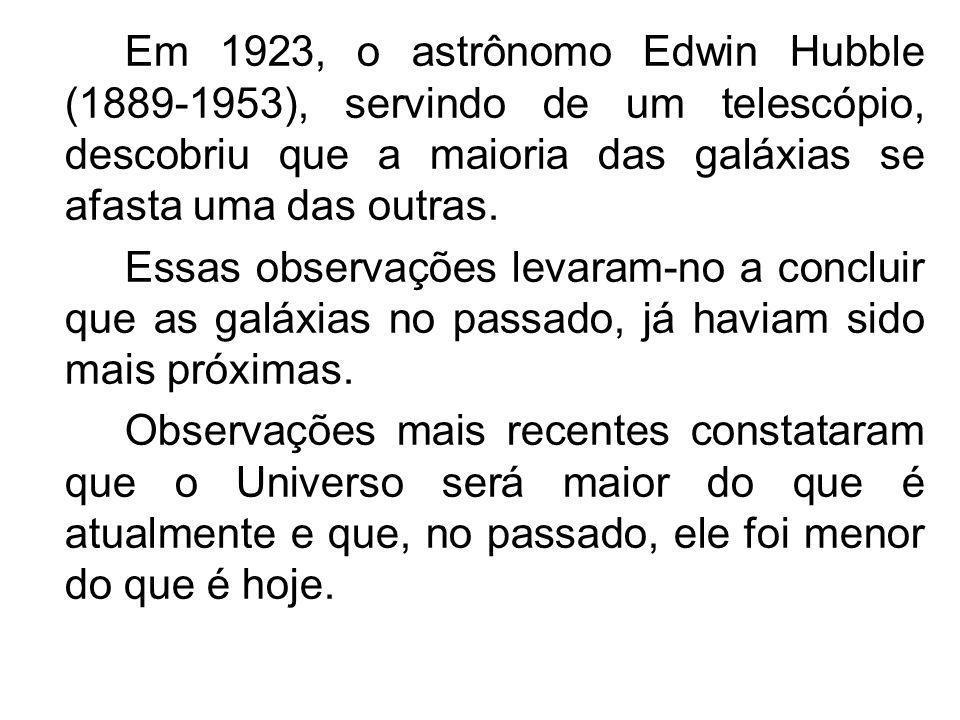 Em 1923, o astrônomo Edwin Hubble (1889-1953), servindo de um telescópio, descobriu que a maioria das galáxias se afasta uma das outras.