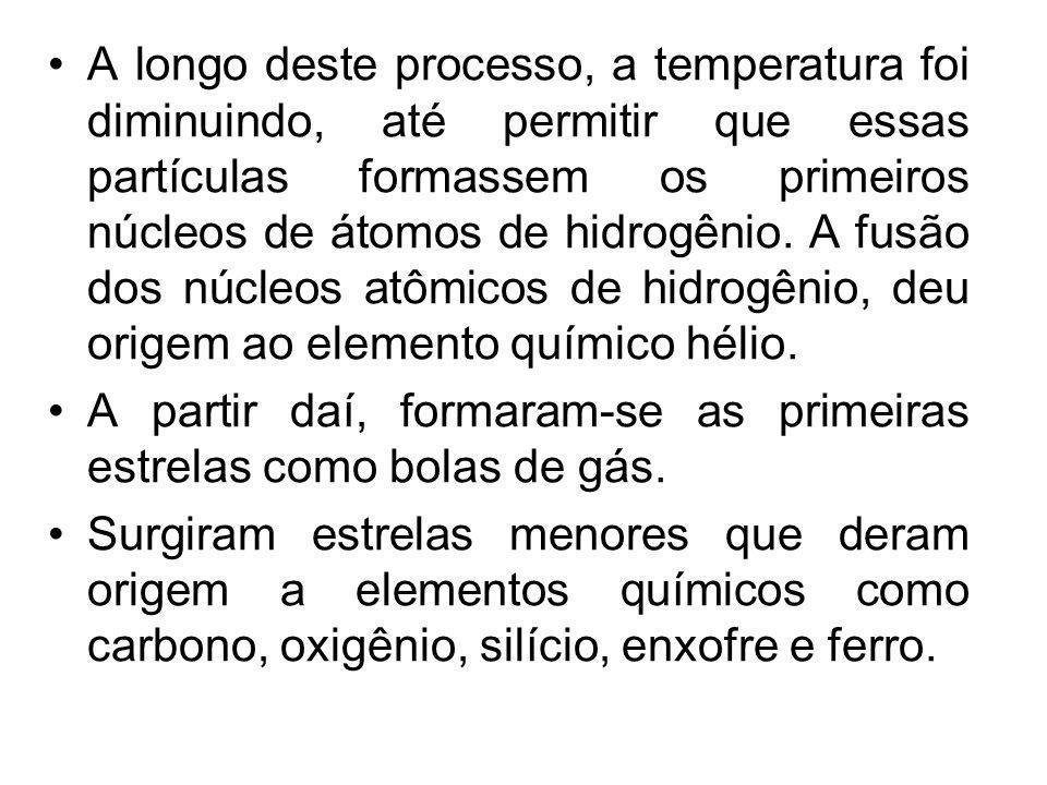 A longo deste processo, a temperatura foi diminuindo, até permitir que essas partículas formassem os primeiros núcleos de átomos de hidrogênio. A fusão dos núcleos atômicos de hidrogênio, deu origem ao elemento químico hélio.