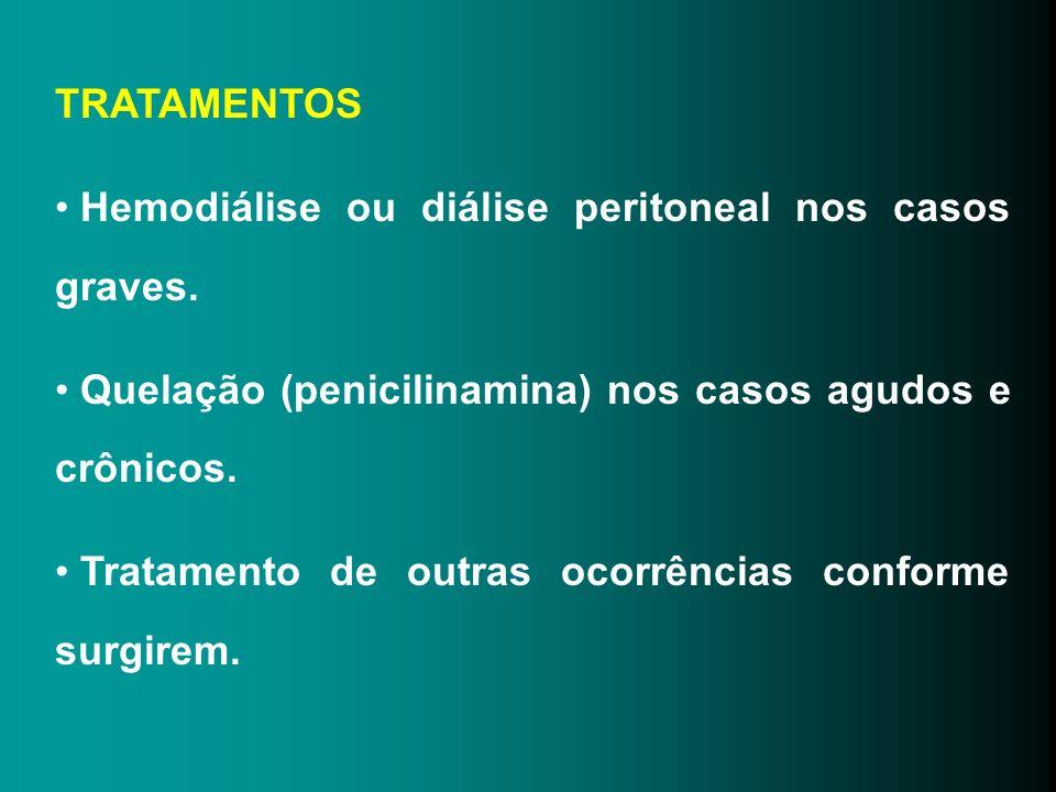 TRATAMENTOS Hemodiálise ou diálise peritoneal nos casos graves. Quelação (penicilinamina) nos casos agudos e crônicos.