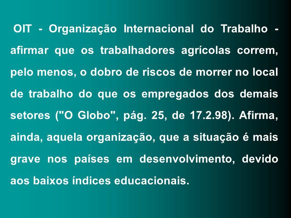 OIT - Organização Internacional do Trabalho - afirmar que os trabalhadores agrícolas correm, pelo menos, o dobro de riscos de morrer no local de trabalho do que os empregados dos demais setores ( O Globo , pág.