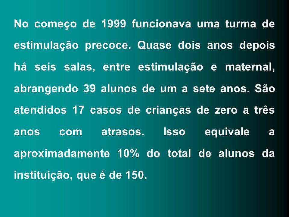No começo de 1999 funcionava uma turma de estimulação precoce