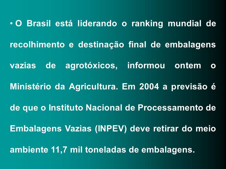O Brasil está liderando o ranking mundial de recolhimento e destinação final de embalagens vazias de agrotóxicos, informou ontem o Ministério da Agricultura.