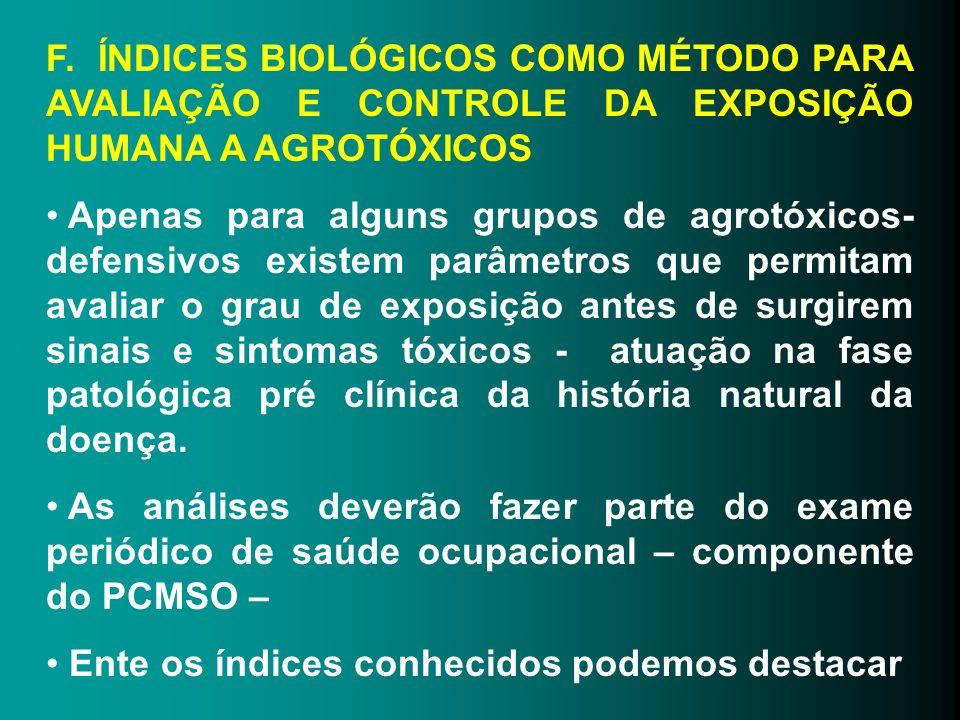 F. ÍNDICES BIOLÓGICOS COMO MÉTODO PARA AVALIAÇÃO E CONTROLE DA EXPOSIÇÃO HUMANA A AGROTÓXICOS