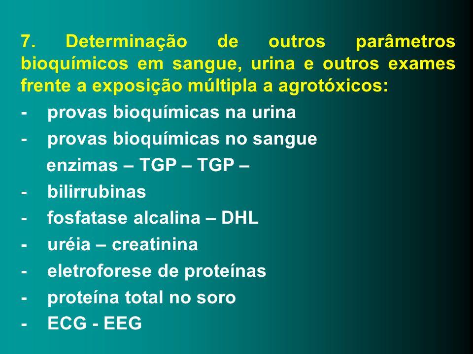 7. Determinação de outros parâmetros bioquímicos em sangue, urina e outros exames frente a exposição múltipla a agrotóxicos: